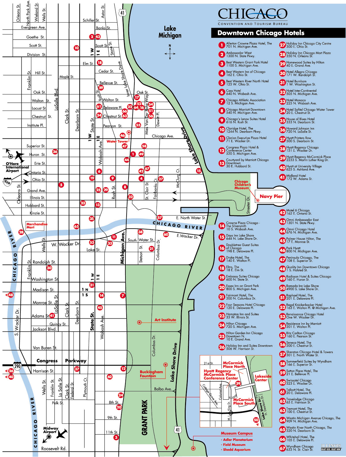 Popular 264 list chicago hotels map for Best hotel chicago downtown